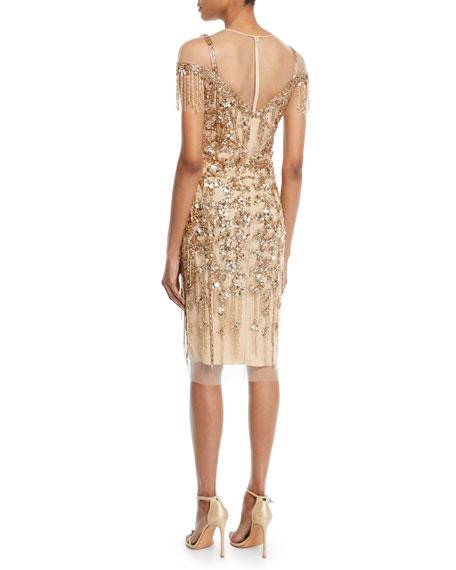 Round-Neck Beaded-Embellished Illusion Sheath Cocktail Dress