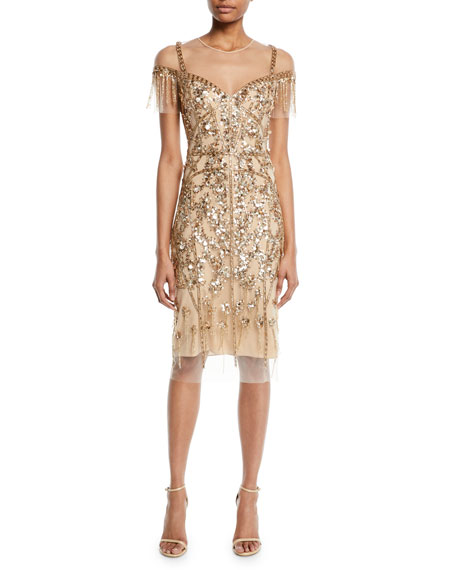 PAMELLA ROLAND ROUND-NECK BEADED-EMBELLISHED ILLUSION SHEATH COCKTAIL DRESS