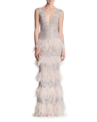 Sleeveless Plunging Feather-Tiered Evening Gown