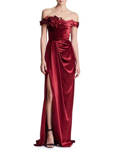 Off-the-Shoulder Draped Velvet Column Evening Gown