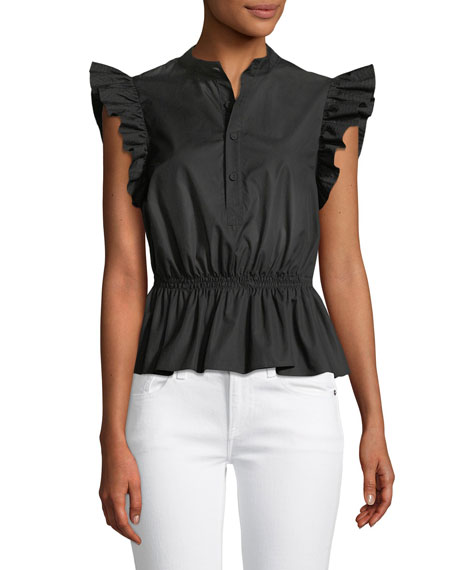 Button-Front Cotton Poplin Peplum Top W/ Ruffle Sleeves in Black