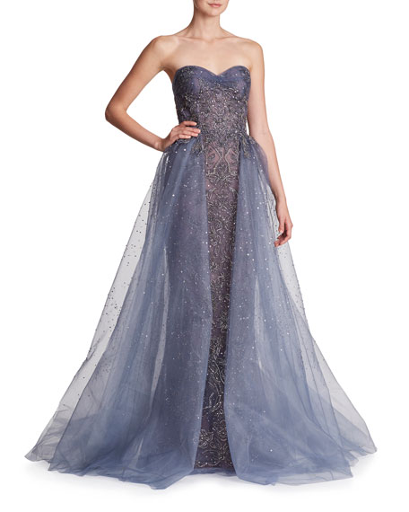 Marchesa Strapless Embellished Tulle Evening Ball Gown