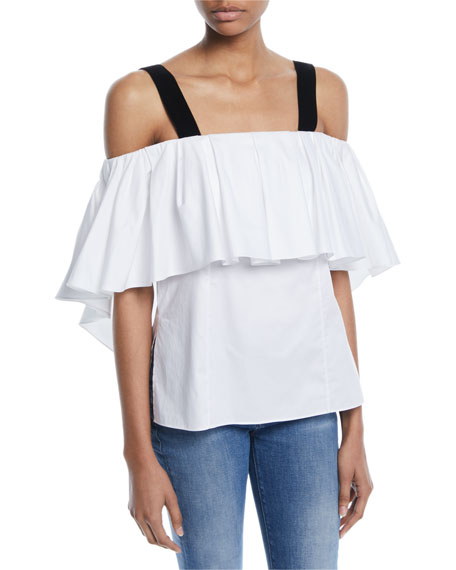 Off-The-Shoulder Cotton Poplin Top W/ Velvet Straps in White