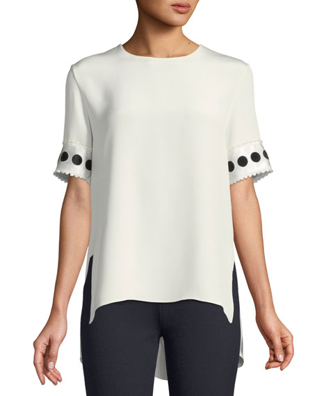 Round-Neck Short-Sleeve High-Low Silk Crepe T-Shirt W/ Ribbon Cuffs, Ivory