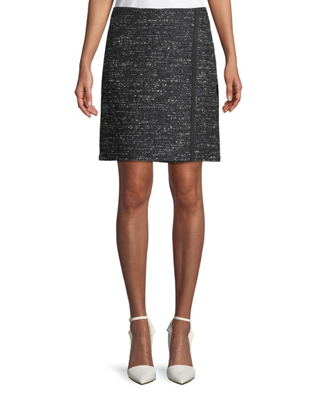 Tweed Wrap-Effect Mini Skirt in Black