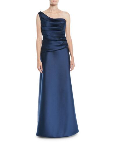 One-Shoulder Sleeveless Gathered Duchess Satin Evening Gown