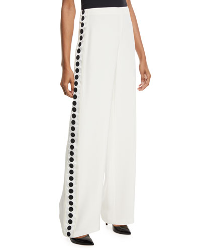Wide-Leg Silk Crepe Pants w/ Ribbon Detail