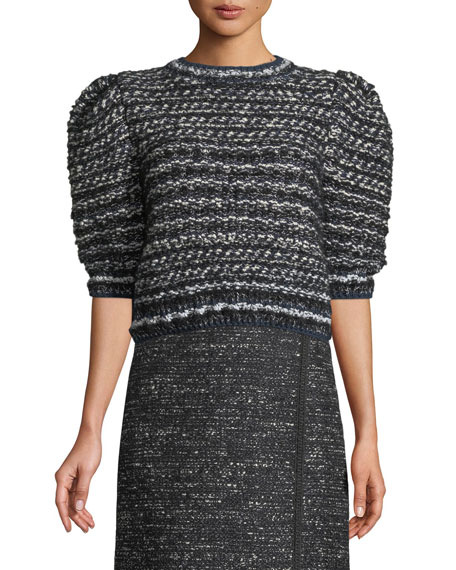 Adam Lippes Puff-Sleeve Hand-Knit Cropped Tweed Sweater
