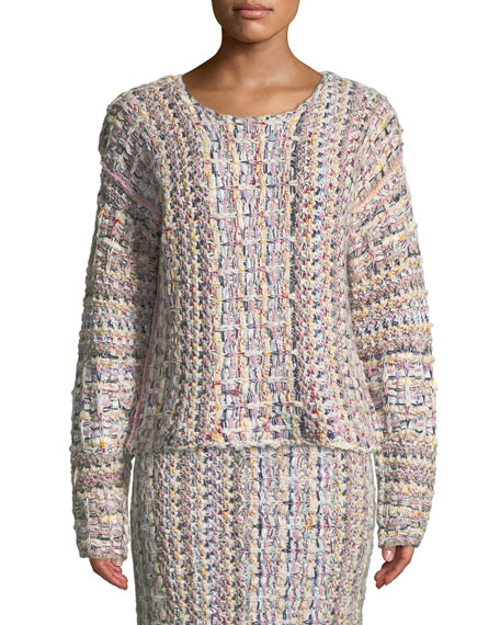 ADAM LIPPES Crewneck Long-Sleeve Hand-Knit Tweed Sweater in Neutrals