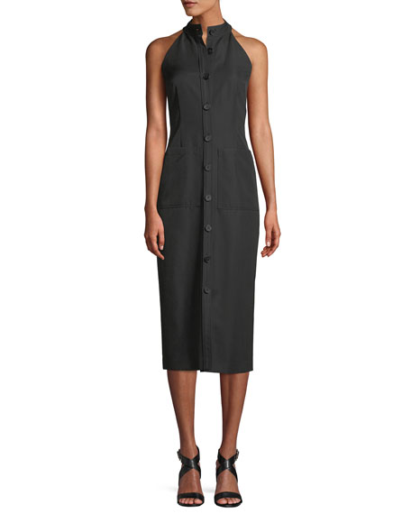 Sleeveless Halter Button-Front Gabardine Wool Midi Dress, Black