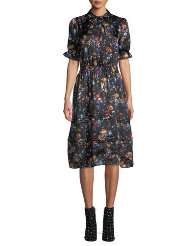 Tie-Neck Ruched Sleeve & Waist Floral-Print Silk Dress w/ Tiered Hem