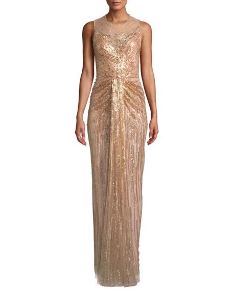Jenny Packham Illusion-Neck Sleeveless Embellished Evening Gown