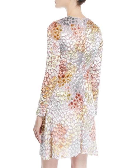 Long-Sleeve Crewneck Velvet Burnout Mini Cocktail Dress