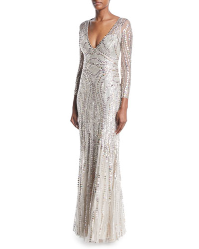 Long-Sleeve Sequined Illusion-Back Gown