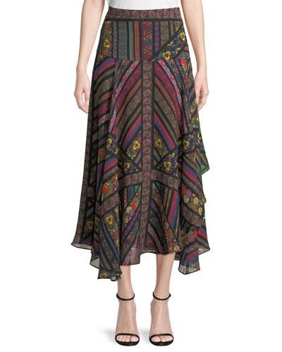 Mixed-Print Ruffled Silk Midi Skirt