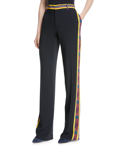 Etro Straight-Leg Crepe Pants w/ Embroidered Trim