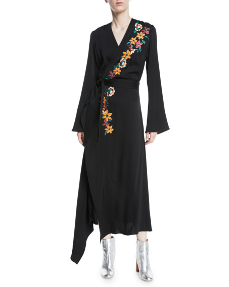 ETRO Wrap-Effect Embellished Hammered-Satin Dress in Black