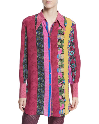 Multi-Print Button-Front Long-Sleeve Silk Blouse