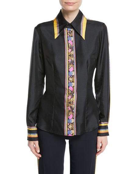 Long-Sleeve Button-Down Silk Satin Blouse w/ Contrast Ribbon Trim