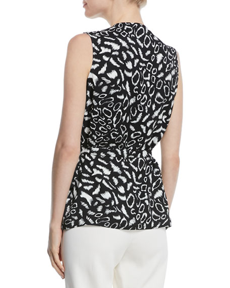 Sleeveless V-Neck Animal-Print Blouse