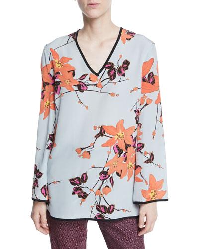 V-Neck Long-Sleeve Lily Floral-Print Silk Kimono Blouse