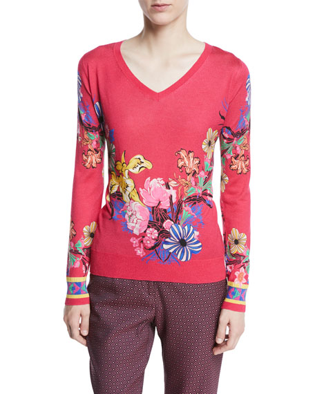 V-Neck Long-Sleeve Floral-Print Silk-Cashmere Sweater