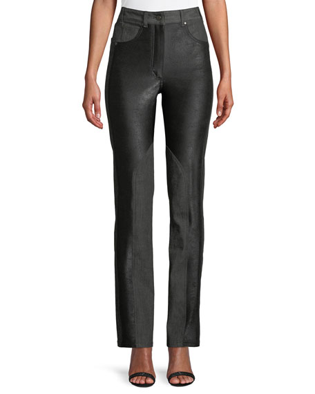 Dylan High-Waist Straight-Leg Coated Skinny Jeans