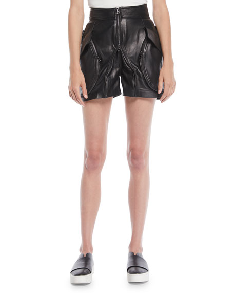 GIOVANNA HIGH-WAIST ZIP-FRONT CALF LEATHER SHORTS