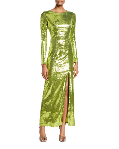 Round-Neck Long-Sleeve Open-Back High-Shine Sequin Evening Gown