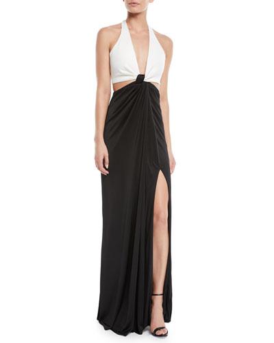 Halter Deep-V Cutout-Waist Leg-Slit Stretch-Jersey Evening Gown