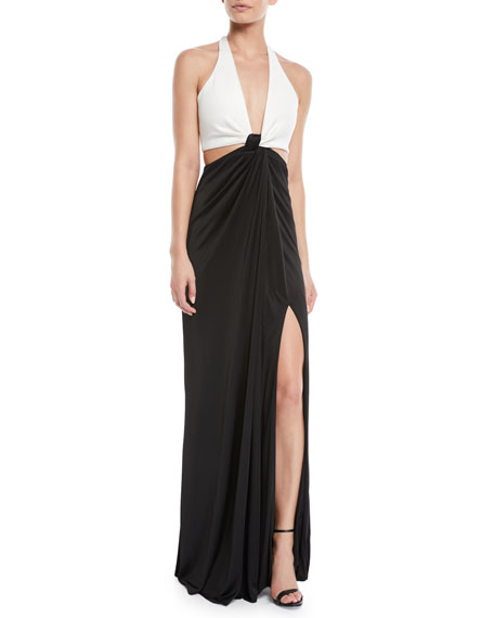 Galvan Halter Deep-V Cutout-Waist Leg-Slit Stretch-Jersey Evening