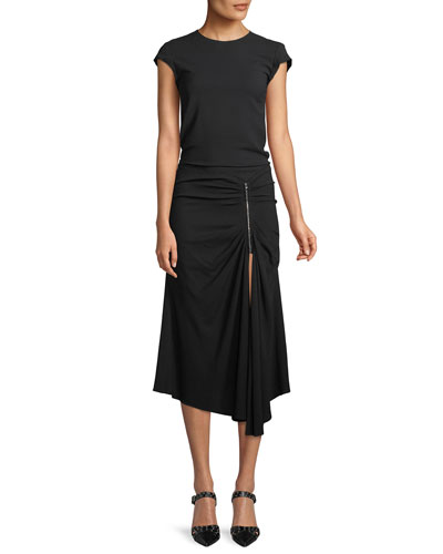 Kate Cap-Sleeve Ruched Zip-Waist Crepe Midi Dress
