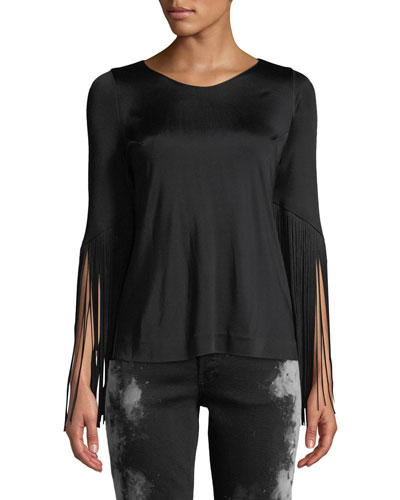 Fringe-Detail Stretch-Jersey Top