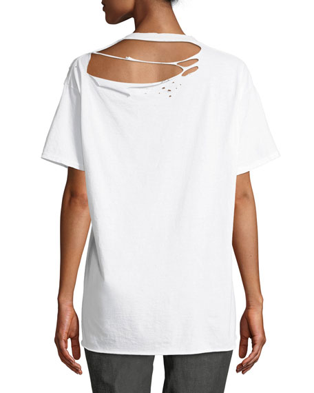 Alana Mars-Print Crewneck Short-Sleeve Distressed T-Shirt