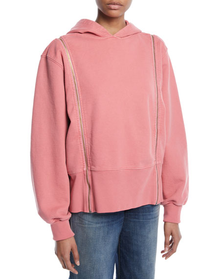 Longline Boxy Cotton Hoodie with Zip-Off Sleeves