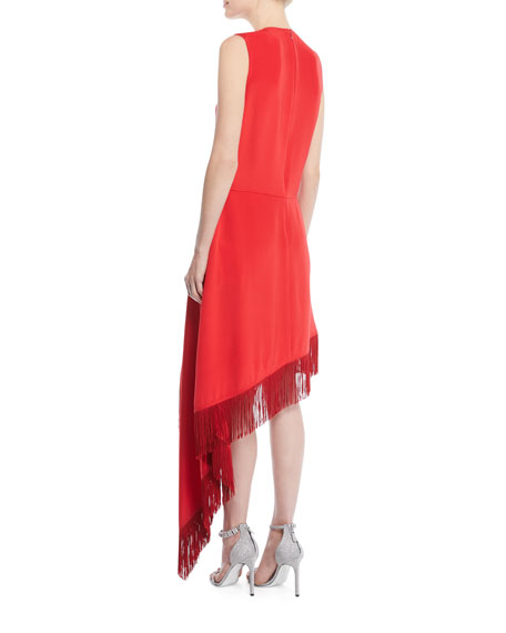 Sleeveless A-Line Silk Dress w/ Fringe Hem