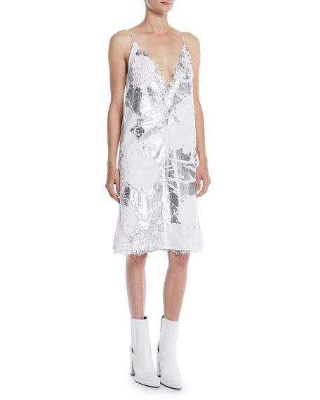 X Andy Warhol Foundation Foil Flowers Slipdress, White/Silver