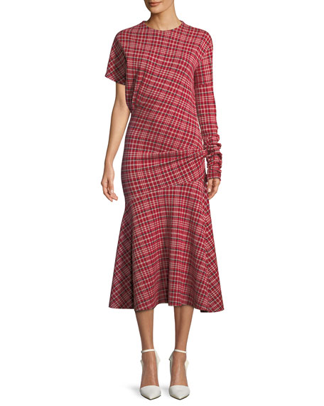 Long-Sleeve Asymmetric Plaid Midi Dress W/ Flounce Hem, Red White Navy