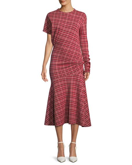 Long-Sleeve Asymmetric Plaid Midi Dress w/ Flounce Hem