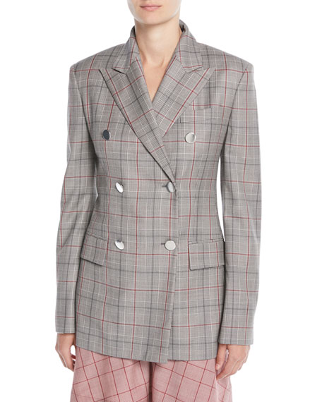 Double-Breasted Metal-Buttons Wool Blazer