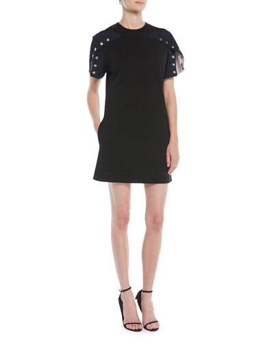 Snap Short-Sleeve A-Line Cotton Dress