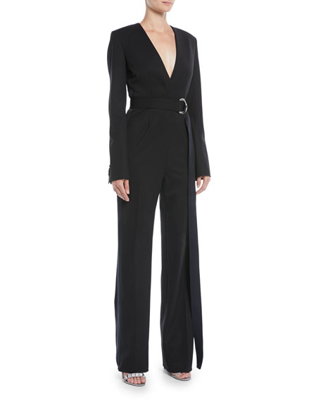 Virgin Wool-Blend Twill Tuxedo Jumpsuit - Black Dark Navy Size 42 It