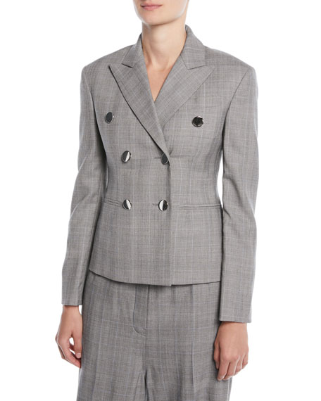 Double-Breasted Fitted Wool Blazer