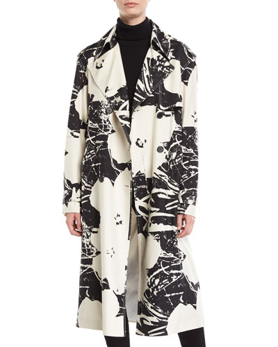 Double-Breasted Floral-Print Silk Trench Coat