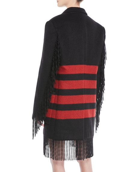 Fringed Long-Sleeve Button-Front Striped Wool-Alpaca Coat