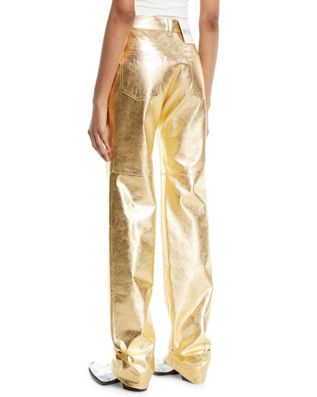 Metallic Leather Straight-Leg Pants