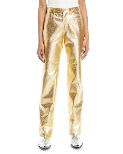 Metallic Leather Straight-Leg Pants