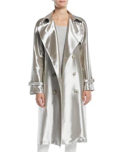 Sinclair Double-Breasted Belted Metallic Trench Coat