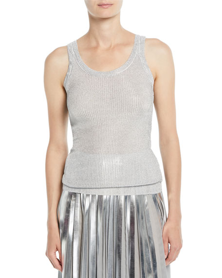 Free Shipping Cheapest Really Cheap Price Ralph Lauren Collection ribbed metallic tank top Free Shipping Fashionable Cheap Price In China QztlsPe
