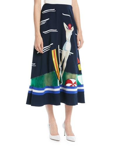 Trivelas Printed A-Line Midi Skirt w/ Organza Insert